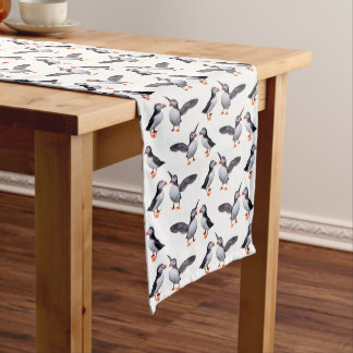 Puffin Frenzy Table Runner (Choose Your Colour)