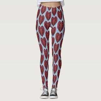 Puffin Hearts Pattern Leggings