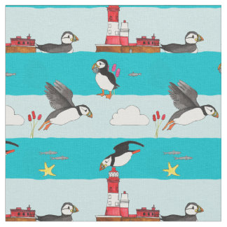 Puffin Lighthouse Fabric