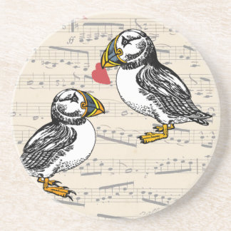 Puffin Lovers musical notes with birds and heart Coaster