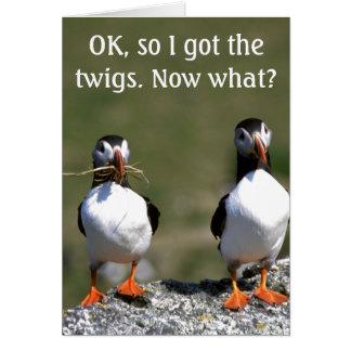 Puffin Pair 'got the twigs' Birthday Card