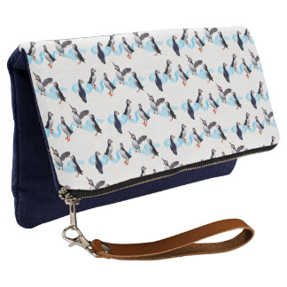 Puffin Party Clutch Bag (choose colour)