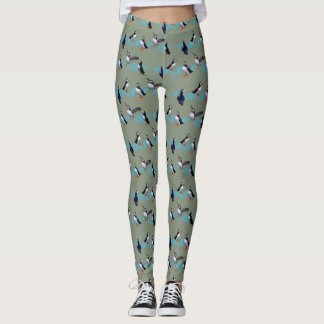 Puffin Party Leggings (Green)
