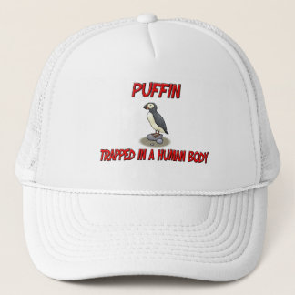 Puffin trapped in a human body trucker hat