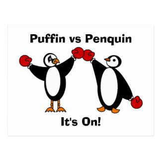 Puffin vs Penquin Postcard