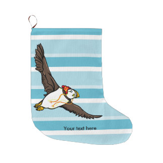 Puffin Wearing A HatA Knitted Hat Large Christmas Stocking
