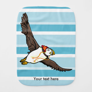 Puffin Wearing ARed And White Hat Burp Cloth