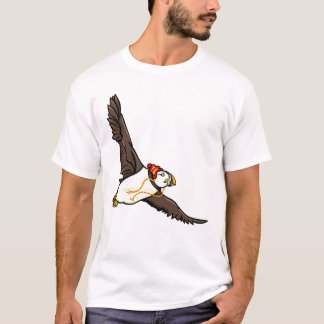 Puffin Wearing ARed And White Hat T-Shirt