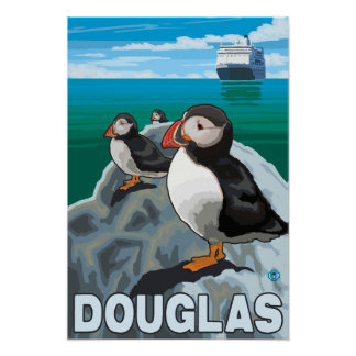 Puffins & Cruise Ship - Douglas, Alaska Poster