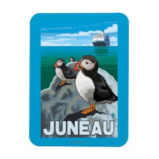 Puffins & Cruise Ship - Juneau, Alaska Magnet