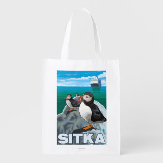 Puffins & Cruise Ship - Sitka, Alaska Reusable Grocery Bag