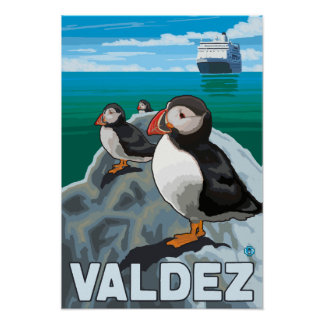 Puffins & Cruise Ship - Valdez, Alaska Poster