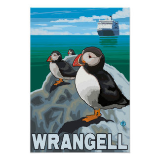 Puffins Cruise Ship - Wrangell Alaska Poster