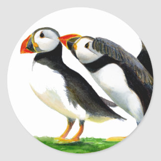 Puffins Seabirds in Watercolour Paints Artwork Classic Round Sticker