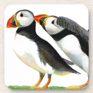 Puffins Seabirds in Watercolour Paints Artwork Coaster