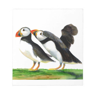 Puffins Seabirds in Watercolour Paints Artwork Notepad