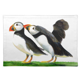 Puffins Seabirds in Watercolour Paints Artwork Placemat