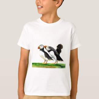 Puffins Seabirds in Watercolour Paints Artwork T-Shirt
