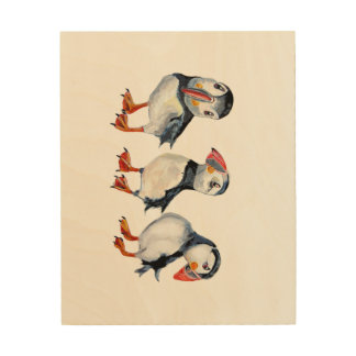 Puffins Wood Wall Art