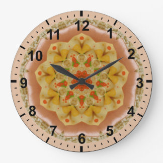 ~ Puffy Apricot and Lemon Fractal ~ Large Clock