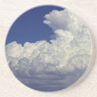 PUFFY WHITE CLOUDS BLUE SKY PHOTOGRAPHY SCENIC BEA DRINK COASTERS