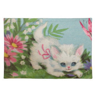 Puffy White Kitten Placemat