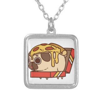 Pug-01 pizza silver plated necklace