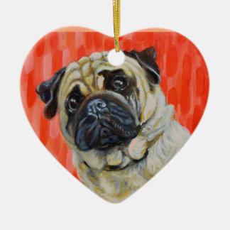 Pug 0range ceramic heart ornament