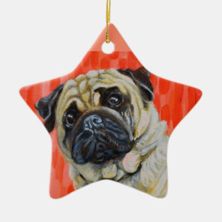 Pug 0range ceramic star ornament