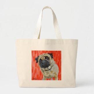 Pug 0range large tote bag