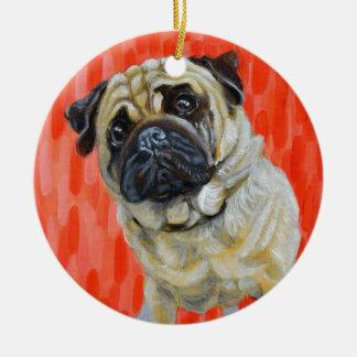 Pug 0range round ceramic ornament