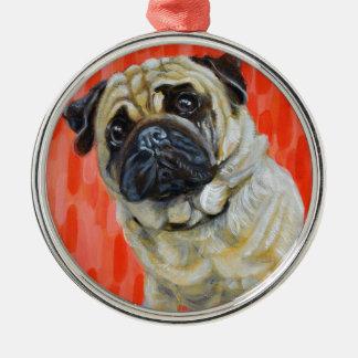 Pug 0range Silver-Colored round ornament
