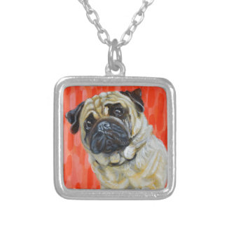 Pug 0range silver plated necklace