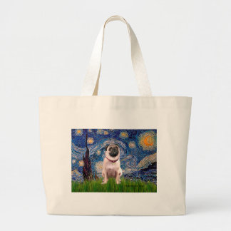 Pug 1(fawn)  - Starry Night Large Tote Bag