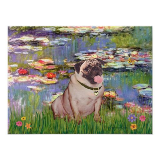 Pug 2 (fawn) - Lilies 2 Poster