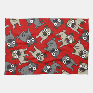 Pug-a-Dot (Red) Kitchen Towel