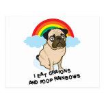 Pug admits to pooping rainbows! Card Postcard