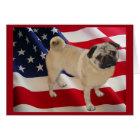 Pug American Flag Greeting Card