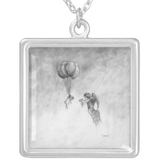 Pug and Angel Silver Plated Necklace