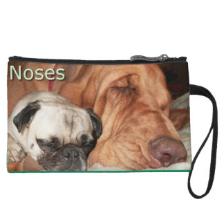 Pug and Bloodhound Noses Clutch Purse Wristlet Clutches