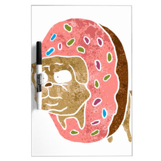 pug and donut. dry erase white board