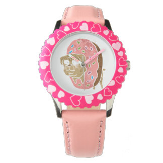 pug and donut. wristwatch