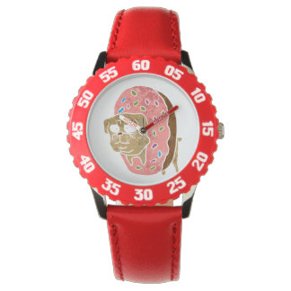 pug and donut. wristwatches