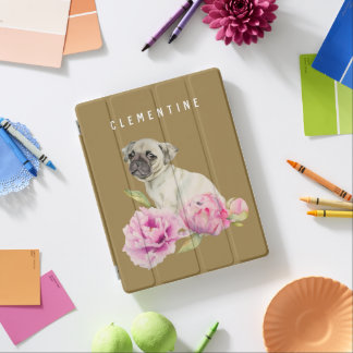 Pug and Peonies   Add Your Name iPad Cover