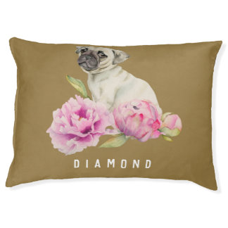 Pug and Peonies | Add Your Pet's Name Pet Bed
