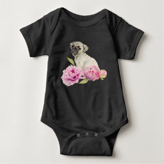 Pug and Peonies | Watercolor Illustration Baby Bodysuit