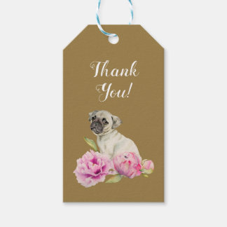 Pug and Peonies | Watercolor Painting | Thank You Gift Tags