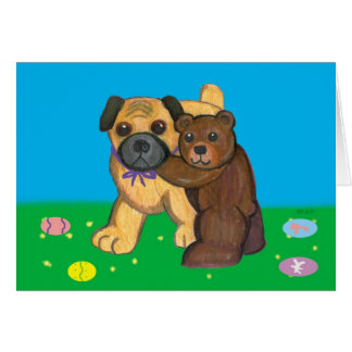 Pug and Teddy Easter Cards