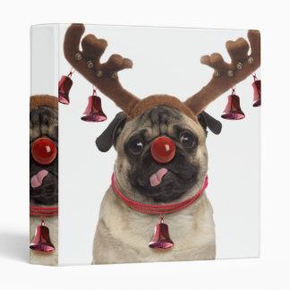 Pug antlers - christmas pug - merry christmas binder