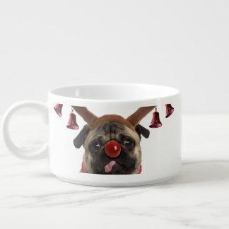 Pug antlers - christmas pug - merry christmas bowl